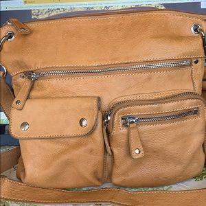 Fossil Sutter Caramel crossbody leather bag